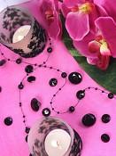 svatební dekorace velké černé diamanty