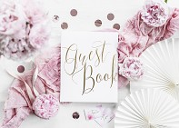Kniha hostů bílá s nápisem Guest Book