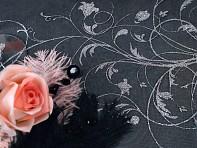 Detail černé organzy se stříbrným vzorem