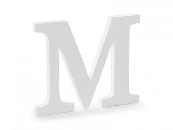 M - dřevěné písmeno bílé 25 x 20 cm