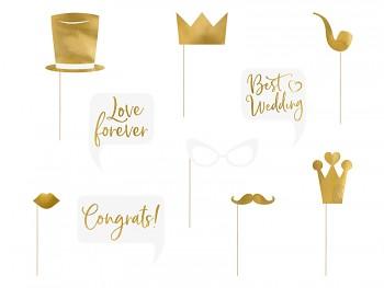 Rekvizity na svatební focení zlaté mix 10 ks