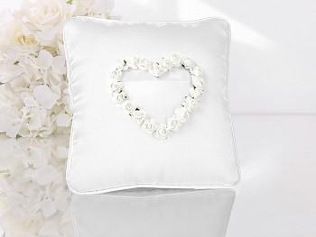 Polštářek pod prstýnky bílý bílé srdce z růží
