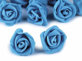 Růžička pěnová tyrkysově modrá 4 cm 10 ks