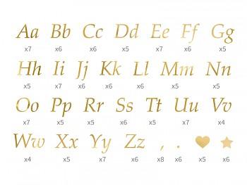 Nalepovací písmena zlatá sada 143 ks