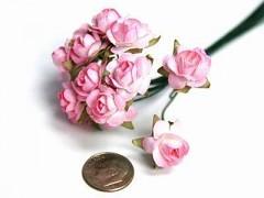 Papírové růžičky světle růžové 12 ks