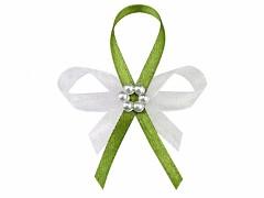 Vývazek s perličkami bílo světle zelený