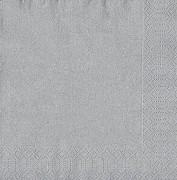 Ubrousky Duni 33x33 stříbrné 20 ks