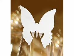 Jmenovka na skleničku motýl bílý 10 ks