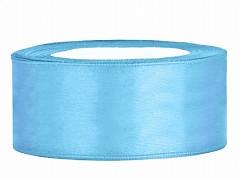 Stuha saténová světle modrá 25 mm x 25 m