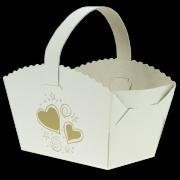 Košíček na svatební koláčky se srdíčky