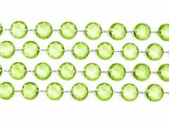Girlanda krystalky ø 18 mm světle zelené 1 m