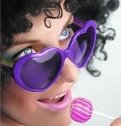 Party brýle srdíčka fialová