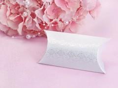 Krabička na svatební mandle bílá s ornamentem 10 ks