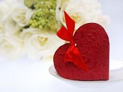 Krabička srdíčko na svatební mandle vínově červené 10 ks