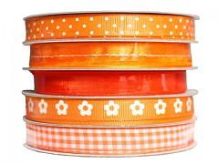 Sada ozdobných stuh oranžová