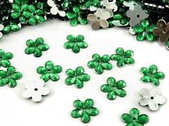 Aplikace smaragdově zelená kytička 11 mm