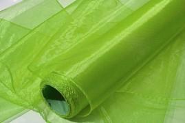 Obšitá organza 38 cm x 9 m limetkově zelená