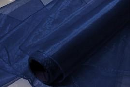 Obšitá organza 38 cm x 9 m tmavě modrá