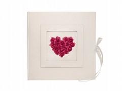 Kniha hostů jemně ivory sytě růžové srdce