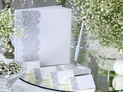 Kniha hostů bílá stříbrný ornament