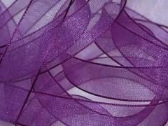 Šifónová tmavě purpurově fialová stuha 12 mm x 25 m