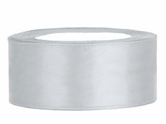 Stuha saténová stříbrná 25 mm x 25 m