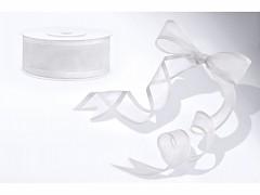 Šifónová bílá stuha s lemováním 25 mm x 25 m
