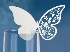 Jmenovka na skleničku vyřezávaný motýl bílý