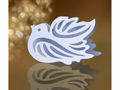 Jmenovka na stůl vyřezávaný holoubek bílý