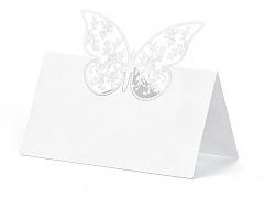 Jmenovka na stůl vyřezávaný motýlek bílý