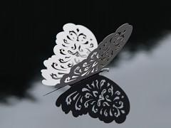 Dekorace vyřezávaný motýl bílý