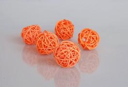 Ratanová koule oranžová průměr 3 cm