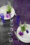 Šerpa na stůl abaka tmavě fialová 30 cm x 5 m