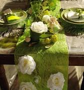 Šerpa na stůl abaka světle zelená 30 cm x 5 m