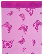 Organza 28 cm x 5 m tmavě fuchsiová s motýlky
