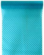 Organza 28 cm x 5 m tyrkysově modrá s puntíky