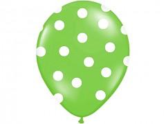 Balónek světle zelený s bílými puntíky