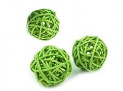 Ratanová koule světle zelená průměr 3 cm