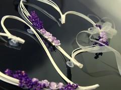 Dekorace na svatební auto srdce z ratanu světě fialové lila