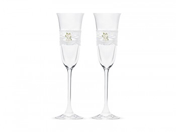 Svatební skleničky krajka a bílé růžičky