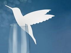 Jmenovka na skleničku kolibřík bílý