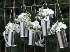 Závěsné květináče stříbrné plechovky 5 ks