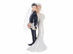 Svatební figurka Nevěsta a ženich zády k sobě