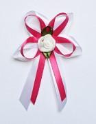 Vývazek pro svědky a rodiče bílo sytě růžový