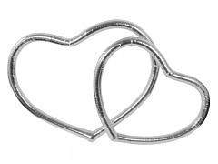 Dekorace na svatební auto stříbrné srdce