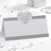Jmenovka bílá stříbrné srdce ornament