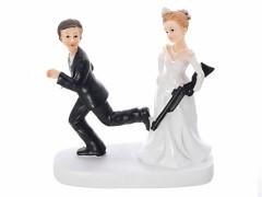 Svatební figurka na dort Nevěsta s brokovnicí