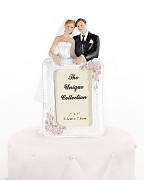 Svatební figurka na dort Nevěsta a ženich s fotorámečkem