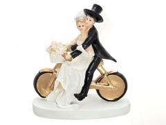 Svatební figurka Nevěsta a ženich na kole