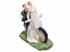 Svatební figurka Nevěsta a ženich na motorce
